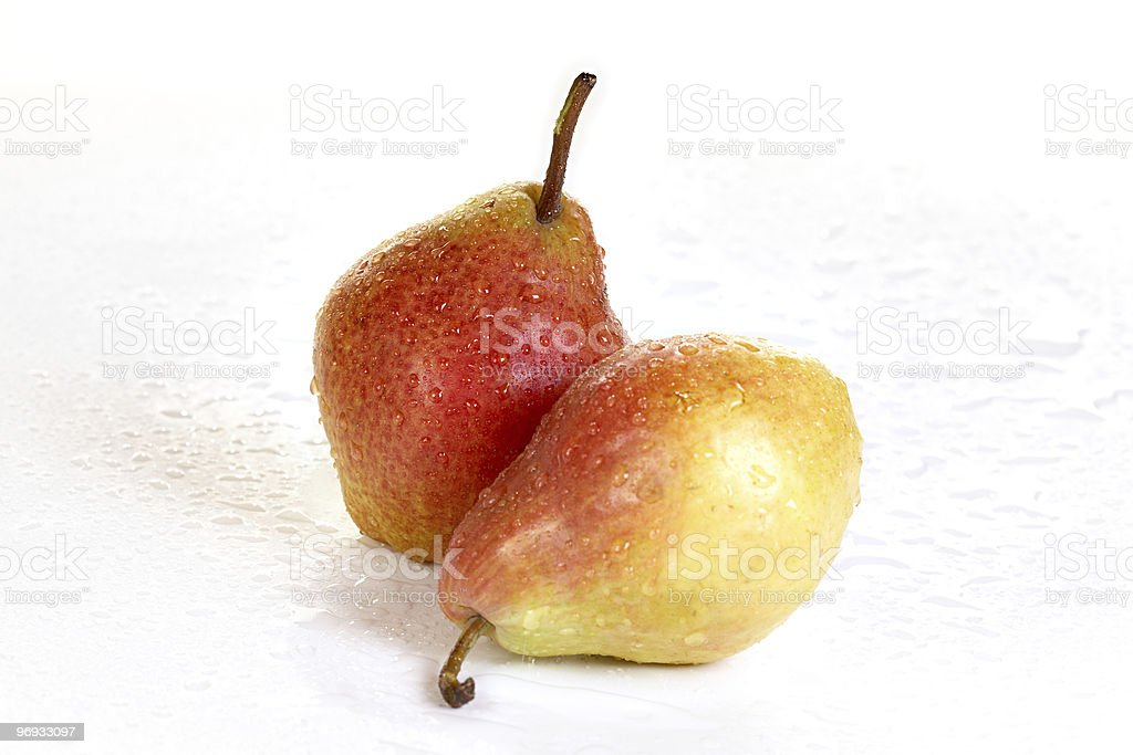Pears with drops of water royalty-free stock photo