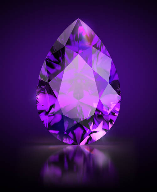 pear-shaped amethyst - diamond gemstone stock photos and pictures