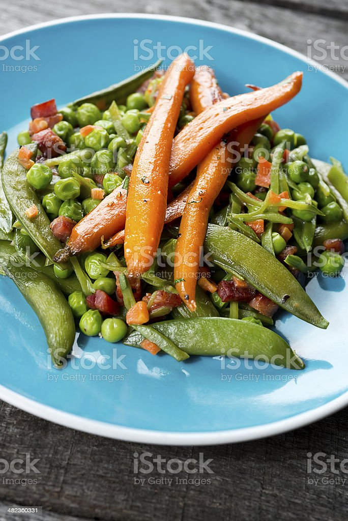 Peas and Carrots royalty-free stock photo
