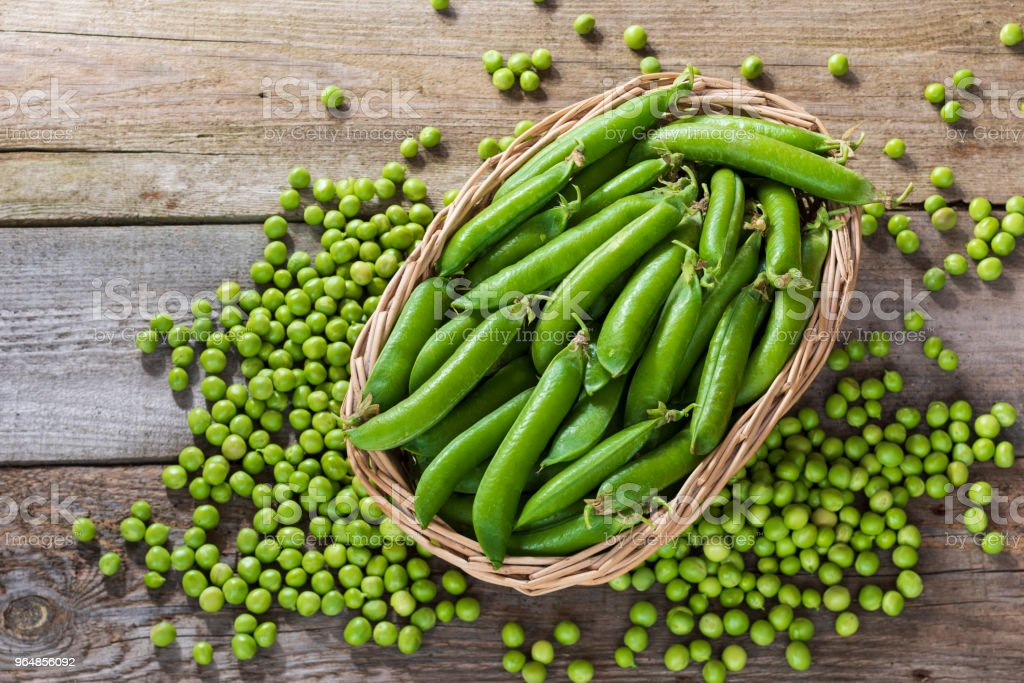 peas in a basket royalty-free stock photo