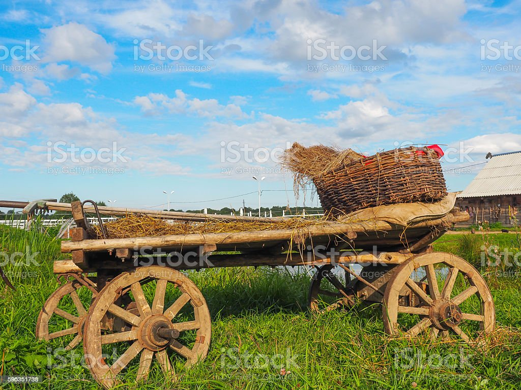 Peasant cart on the farm, Tver region, Russia royalty-free stock photo