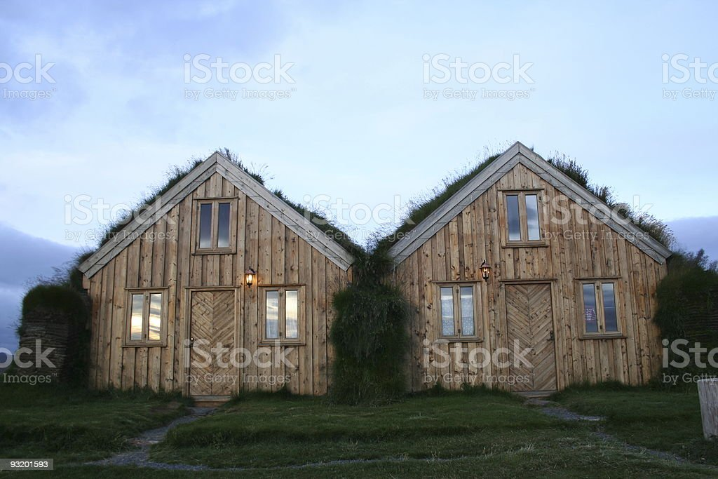 Peat houses in Iceland royalty-free stock photo