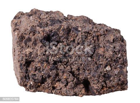538450883istockphoto peat (turf) mineral stone isolated on white 505820764