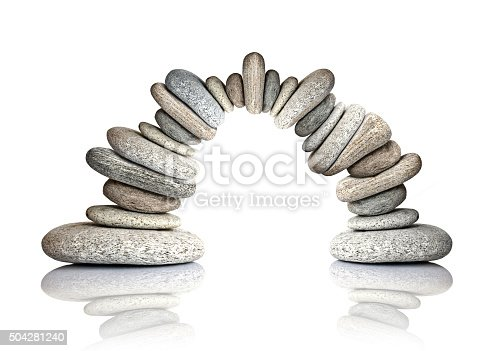 Pebble arch isolated on white background