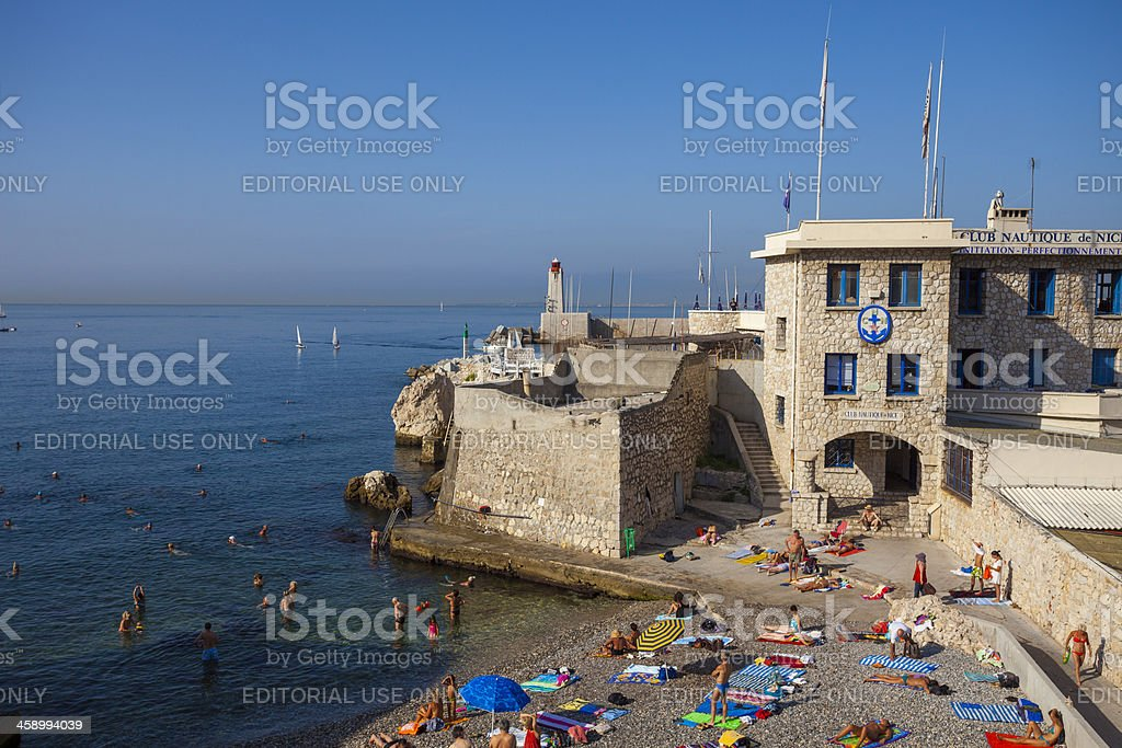 Pebble beach in Nice, France royalty-free stock photo