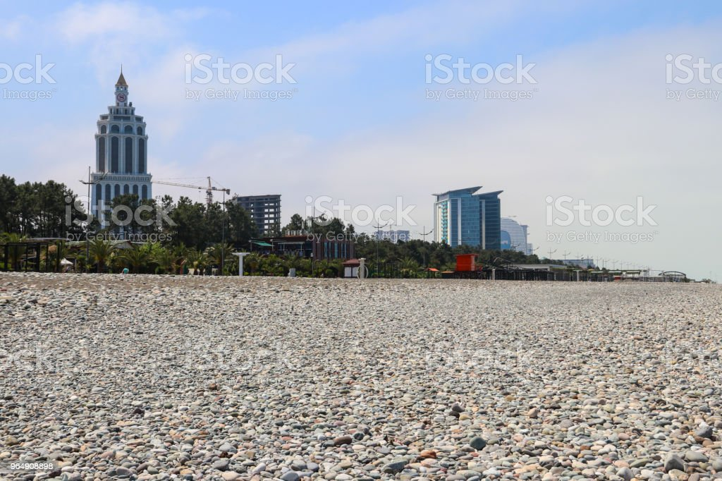 Pebble beach on Black sea in Batumi, Georgia royalty-free stock photo