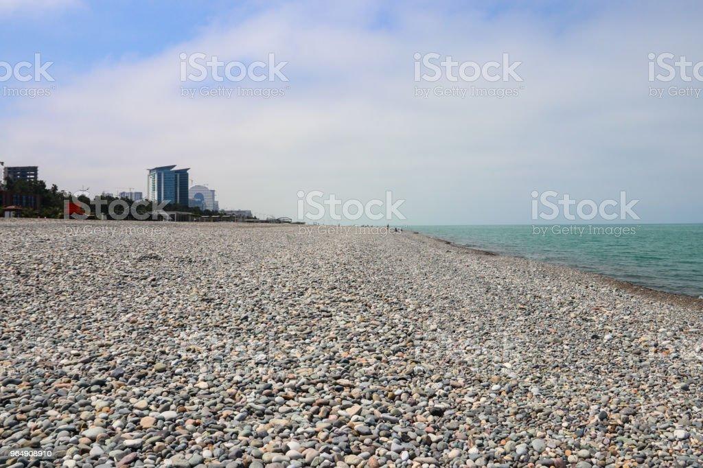 Pebble beach on Black sea in Batumi, Georgia royalty-free stock photo