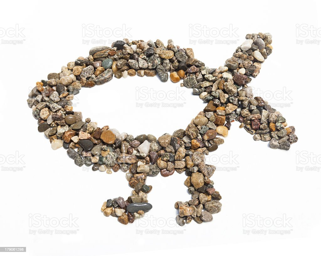 Pebble Darwin Fish stock photo