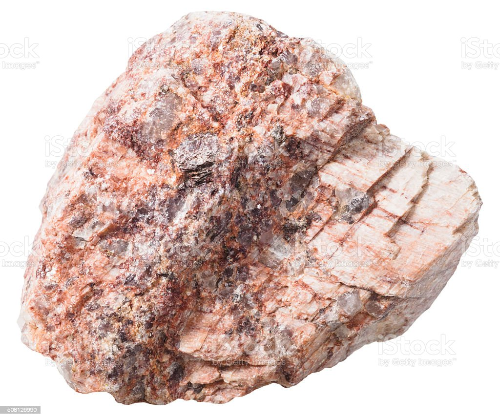 pebble from pink granitic gneiss rock isolated stock photo