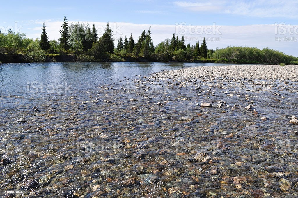 Pebble reef on the North river. stock photo