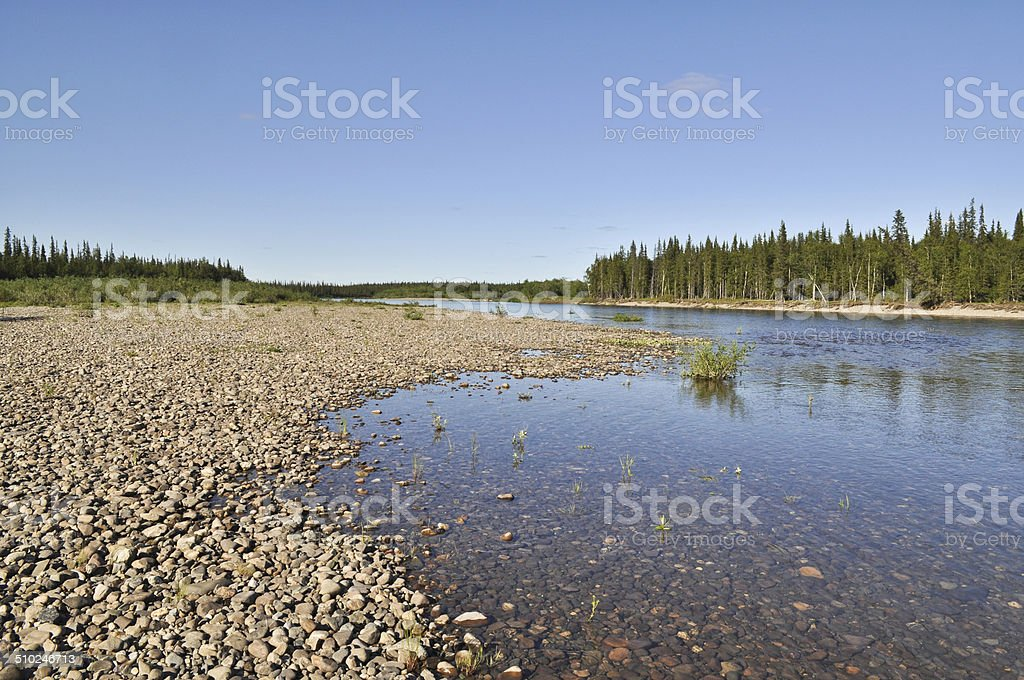Pebble river bed. stock photo