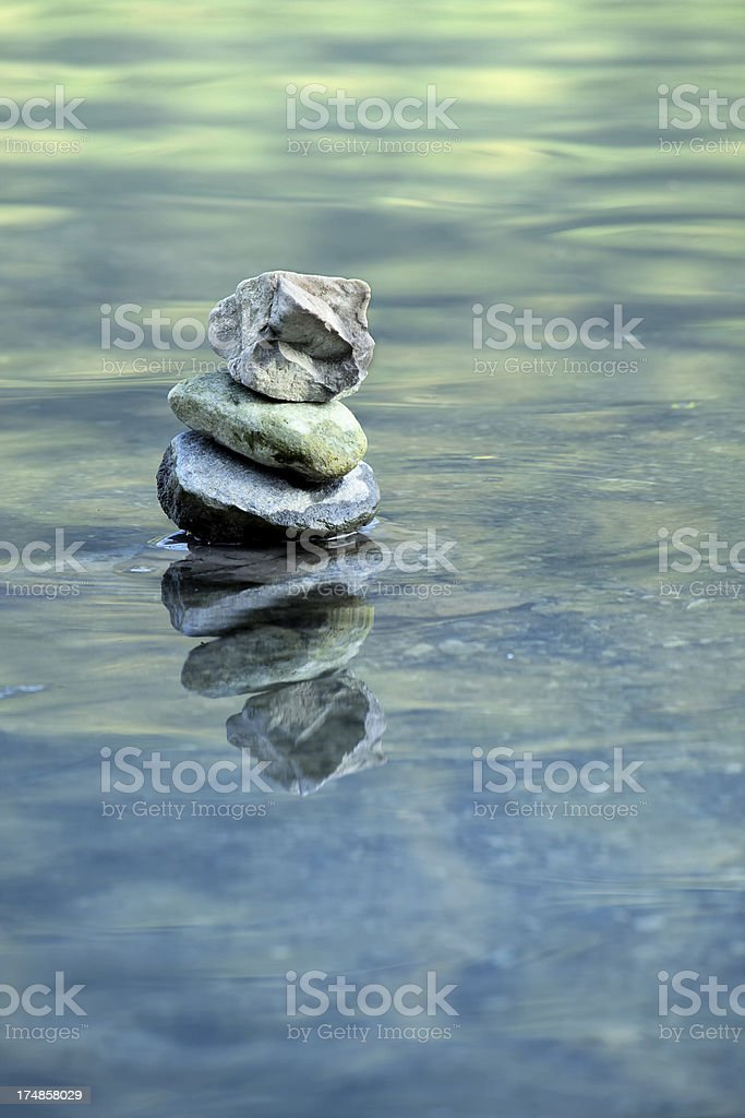 Pebble Stack in Water royalty-free stock photo