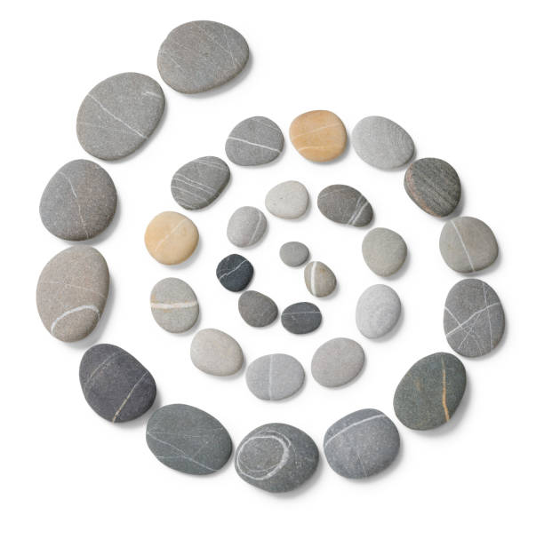 Pebble stones arranged in a Circle Multicolored stones with clipping path stone object stock pictures, royalty-free photos & images