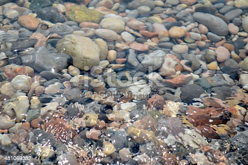 Sea texture of transparent water and pebbles