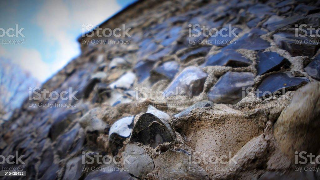 Pebbled wall stock photo