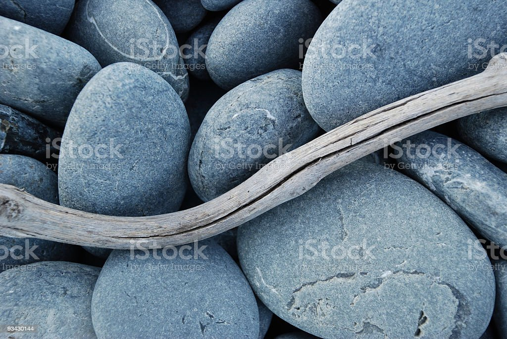 Pebbles and Driftwood royalty-free stock photo