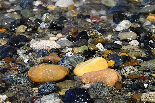 Pebbles and Rocks on the Coast stock photo