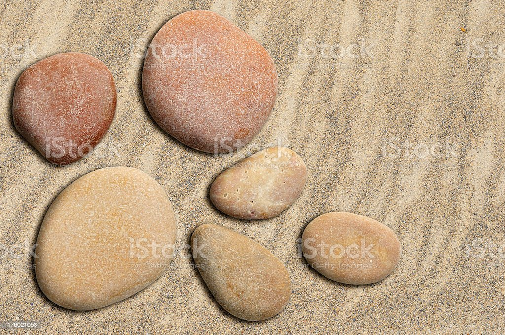 Pebbles and sand stock photo