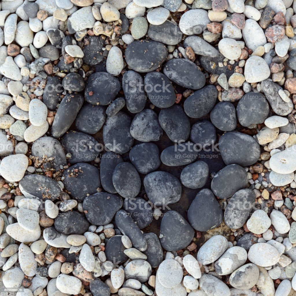 Pebbles in rock garden stock photo