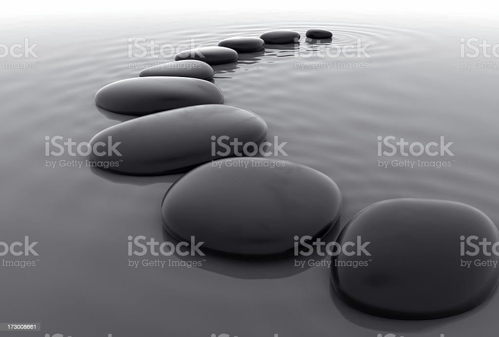 Pebbles in Water III stock photo