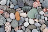 Close up of pebbles on an Atlantic beach on the Isle of Iona, Argyll, Scotland.