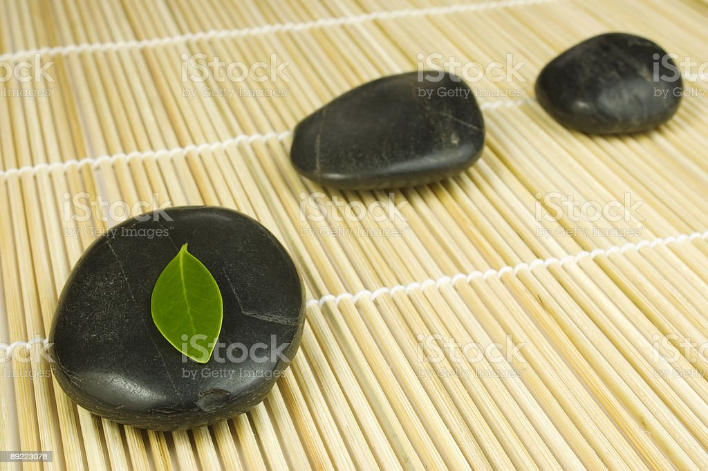 Pebbles row and green leaf royalty-free stock photo