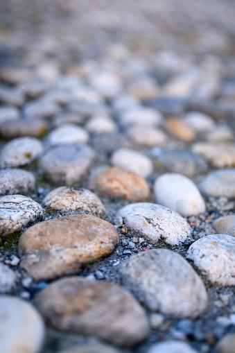 Pebblestone sidewalk closeup