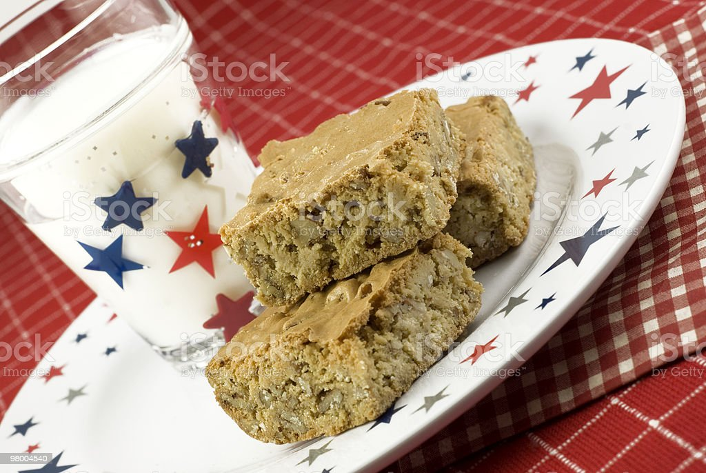 Pecan Caramel Bars with Patriotic Theme royalty-free stock photo