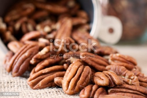 Pecan halves and a measuring cup in the background.Similar images:
