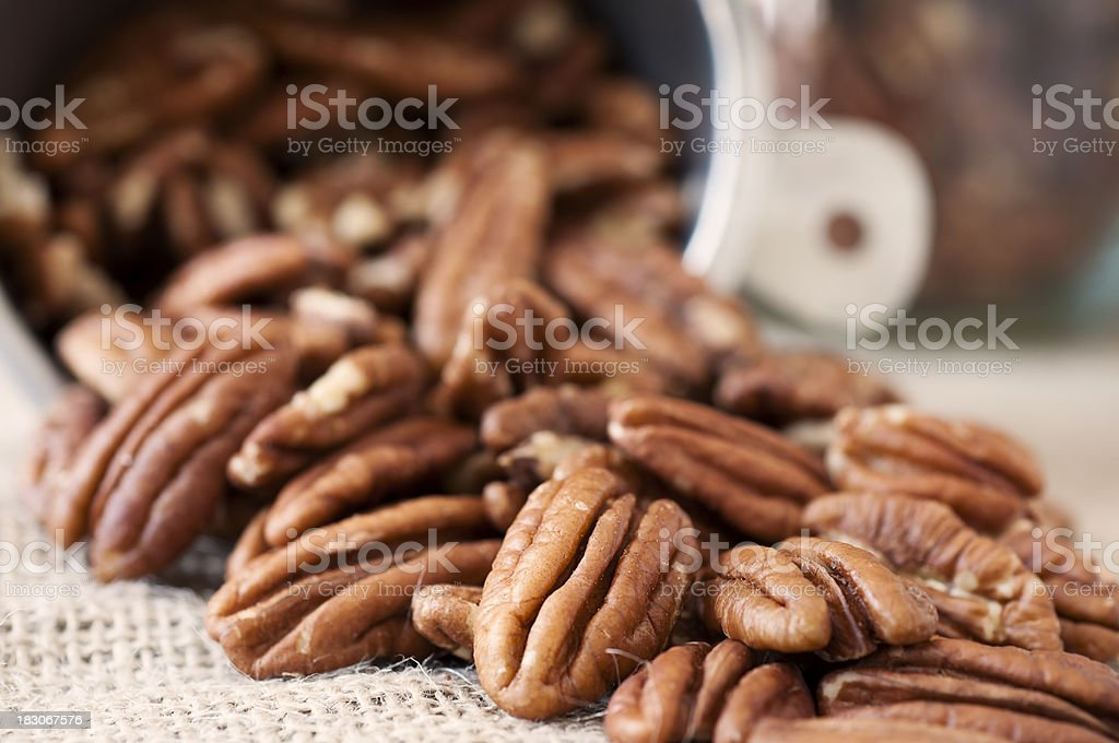 Pecan Halves Tumbling out of a Measuring Cup stock photo