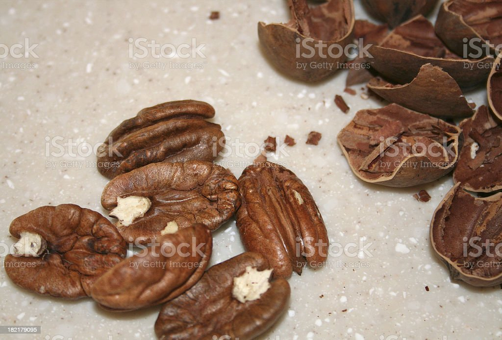 Pecan Nuts and Shells royalty-free stock photo