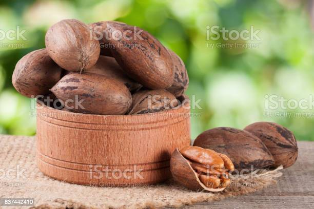 Pecan nuts in a wooden bowl on the old board with blurred garden picture id837442410?b=1&k=6&m=837442410&s=612x612&h=quavwddwofaolidjraucqj9o2 ige tnd3ftrfzbs7c=