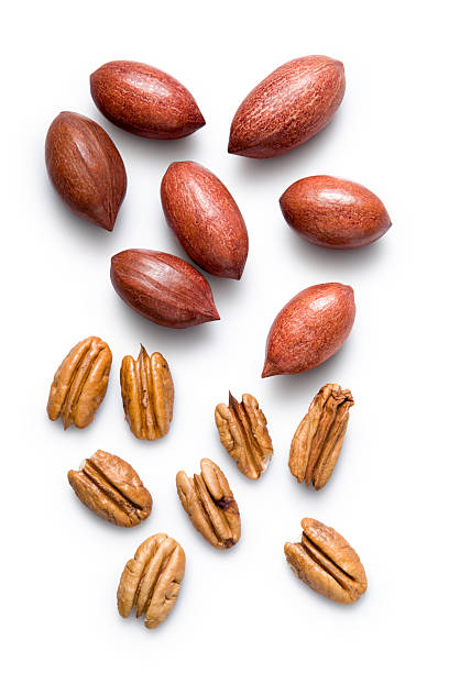 Pecan nuts isolated on white background stock photo
