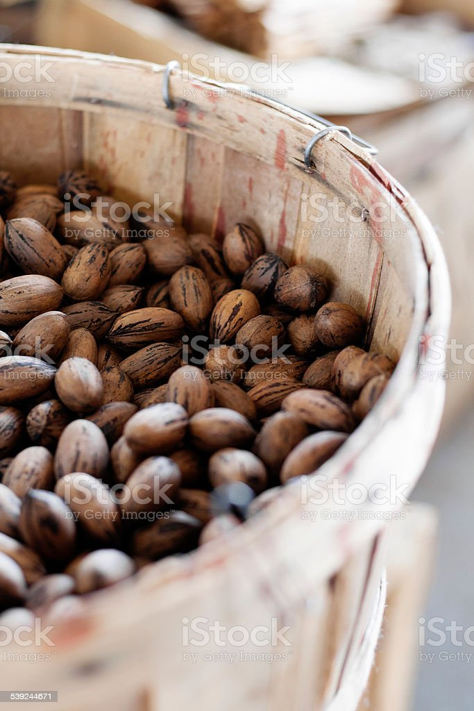 Pecans at the market royalty-free stock photo
