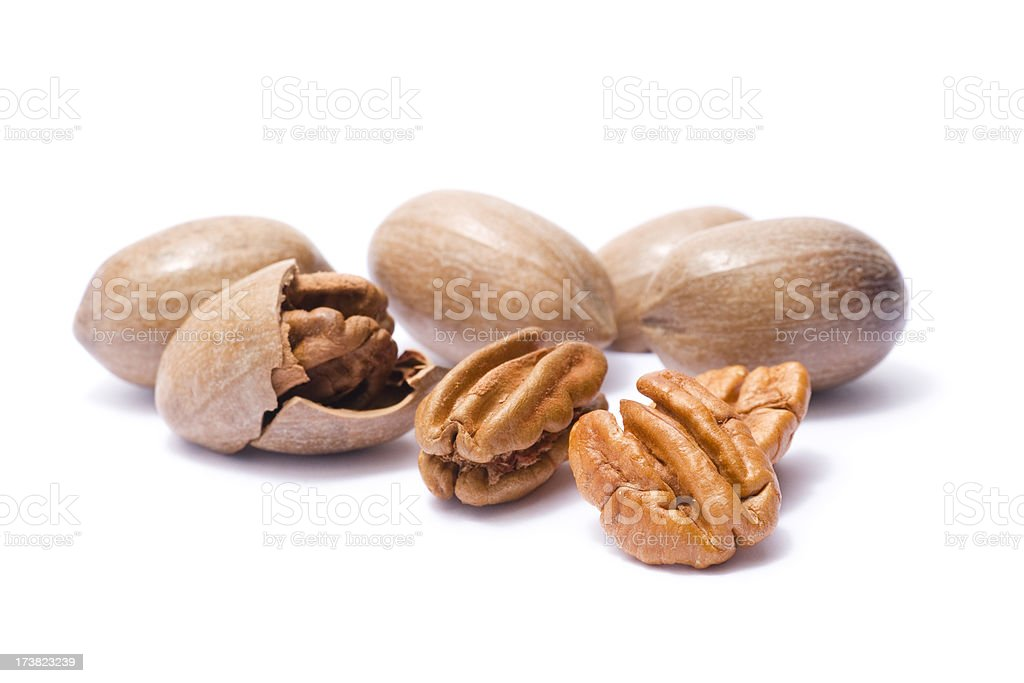 Pecans in their shells royalty-free stock photo