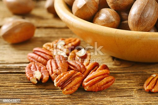 Pecans nuts shelled and cracked
