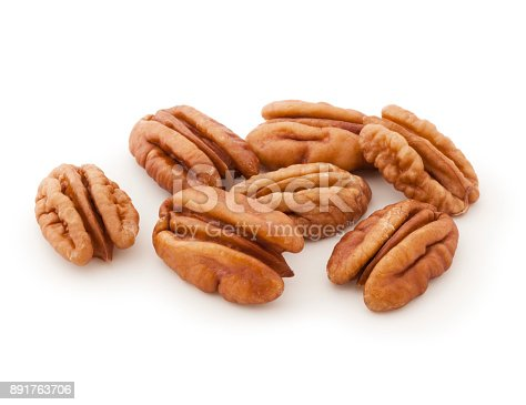 Fresh pecans isolated on white background