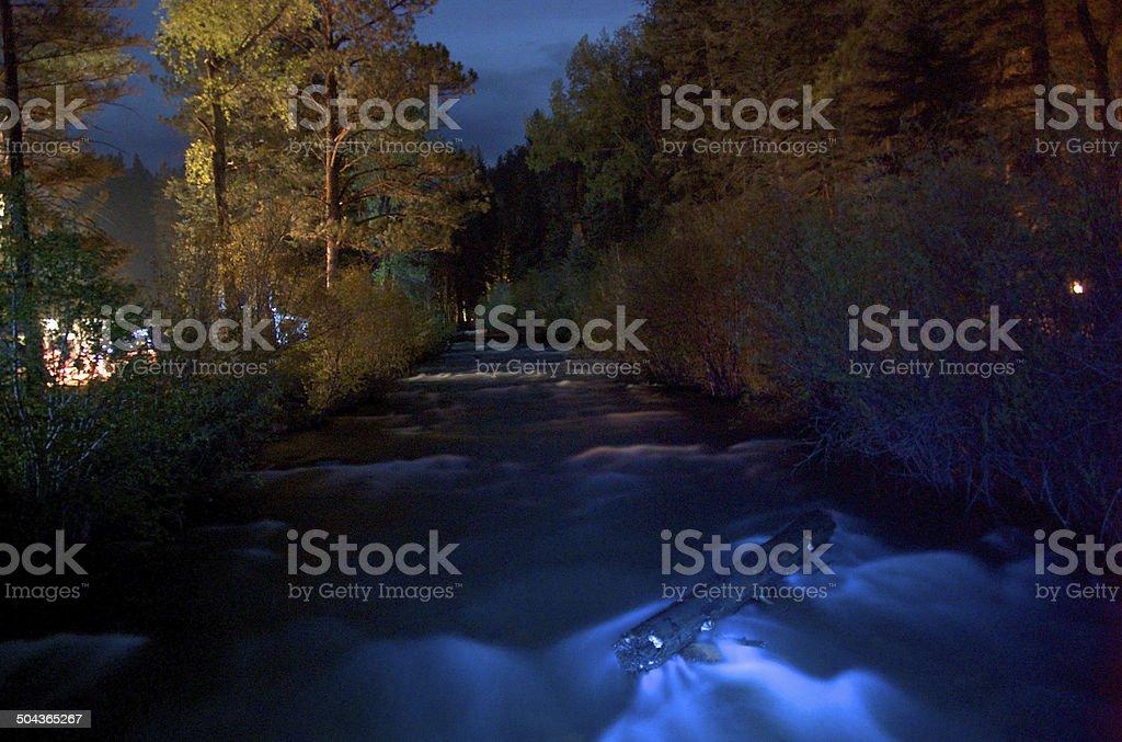 pecos river at night stock photo