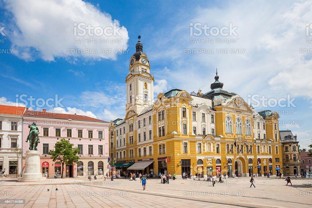 Pecs Hungary Szechenyi Square and Town Hall stock photo
