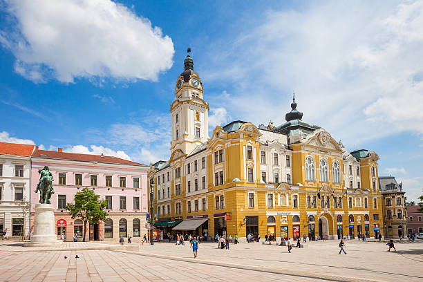 Pecs Hungary Szechenyi Square and Town Hall stock photo