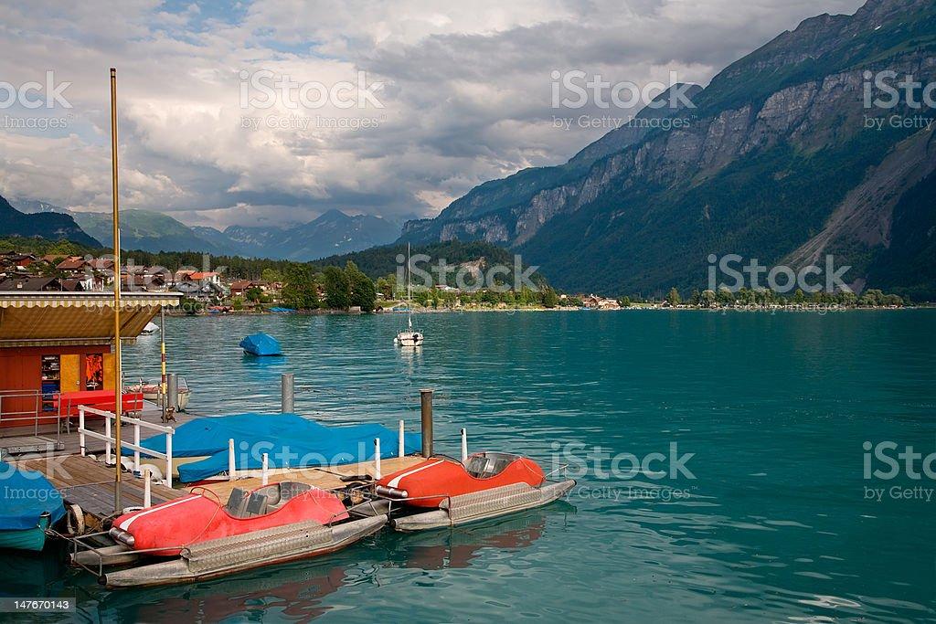 Pedal Boats on Lake Brienz, Berne Canton, Switzerland royalty-free stock photo
