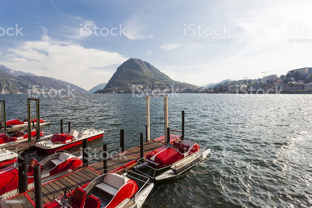 Pedal Boats on Lake Lugano, Switzerland royalty-free stock photo