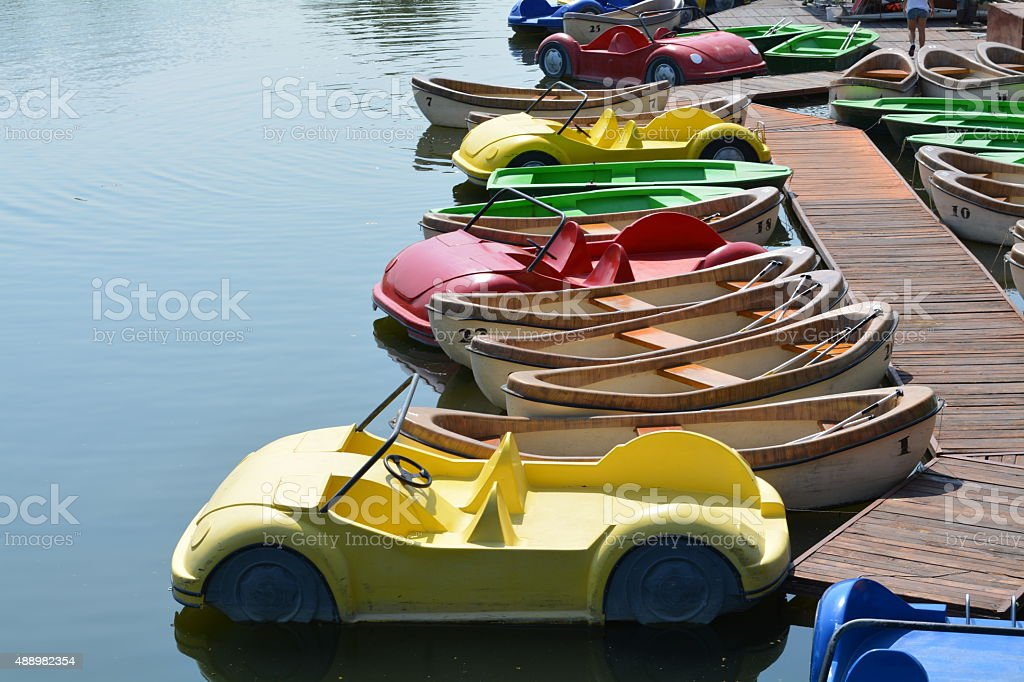 pedal boats stock photo