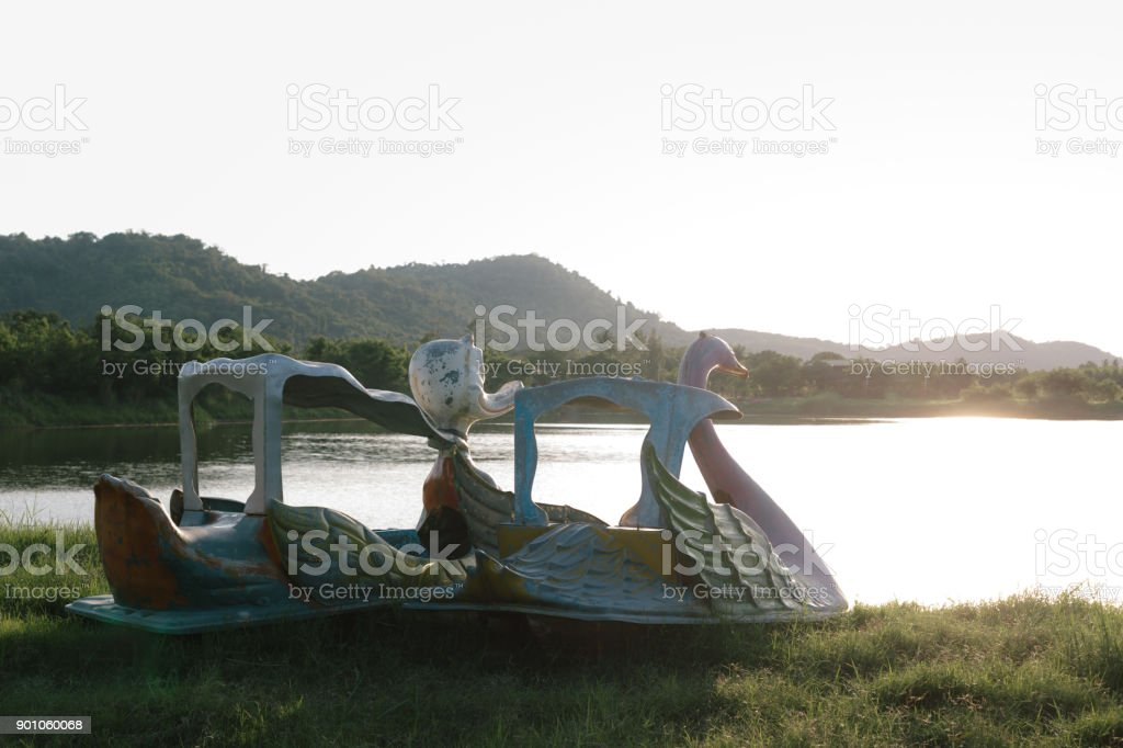 Pedal boats with sunset view stock photo