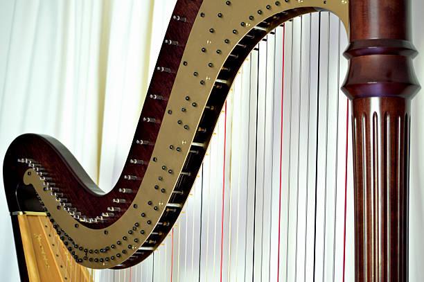 pedal harp closeup - harpist stock photos and pictures