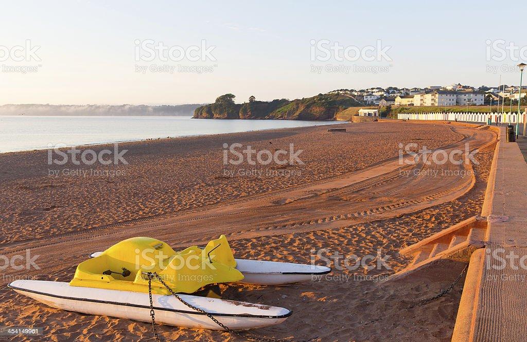 Pedalo on Goodrington beach near Paignton Devon stock photo