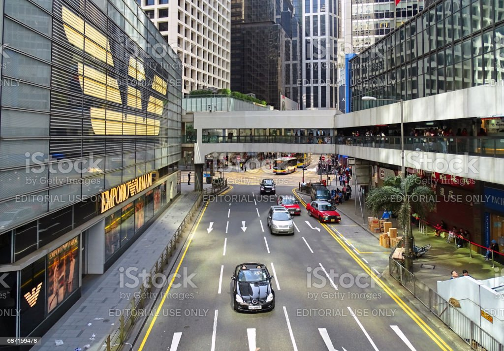 Pedder Street along the Chater House stock photo