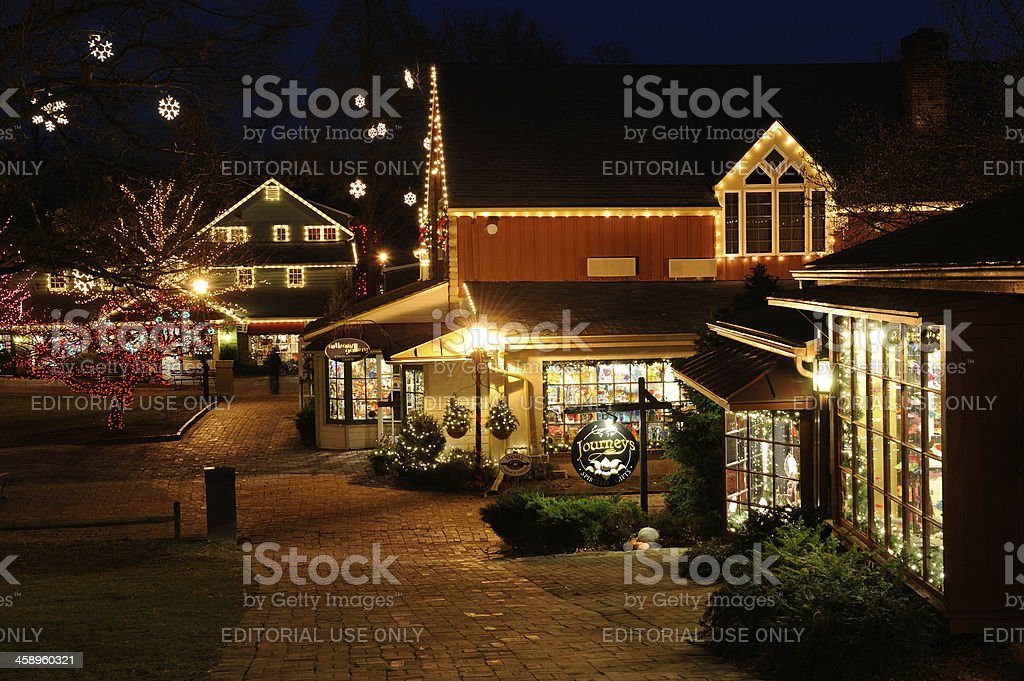 Peddler's Village with Christmas Decorations stock photo