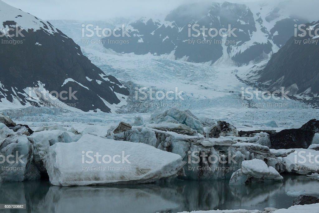 Pedersen Glacier in spring in Kenai Fjords National Park, Alaska royalty-free stock photo