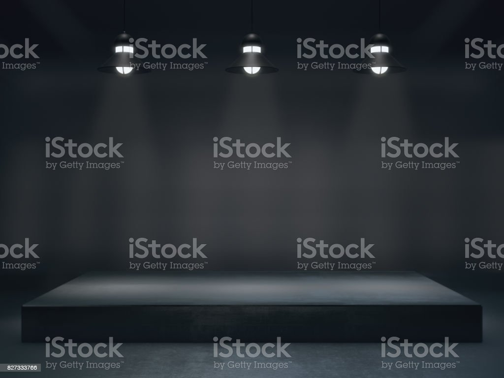 Pedestal for display,Blank product stand with lamp light spot stock photo